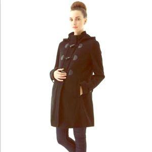 Daisy wool blend pleated toggle coat